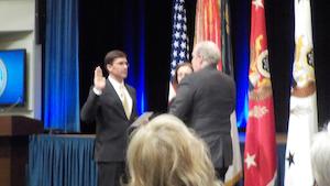 Alex is sworn in by Secretary of the Army Mark Esper