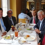 SEAS Dean David Dolling and EEMI staff dine with DSM President Hugh Welsh.
